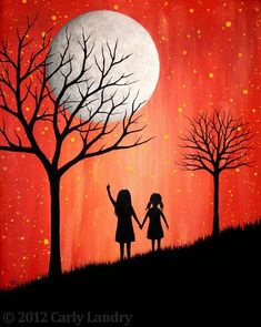 Sisters daughters art print hand in hand modern contemporary art prints - Gouache Gemälde - Painting Love Oil Pastel Art, Oil Pastel Drawings, Art Drawings, Easy Canvas Painting, Painting & Drawing, Canvas Art, Painting Trees, Drawing Drawing, Landscape Drawings
