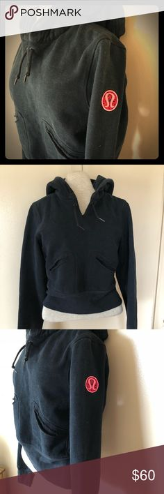 Black Lulu lemon hoodie Nice and thick. Extra long sleeves. Would fit an XS to S, in my opinion. Pink Lululemon logo on the sleeve. Normal signs of wear. lululemon athletica Tops Sweatshirts & Hoodies