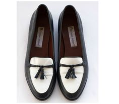 3abe0455ff5 Black and white slip on tassel loafers from Etienne Aigner SIZE 8 M by  TimeTravelFashions on. Etsy