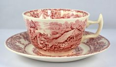 Rural Scenes Red Transferware Cup and Saucer Pastoral Mother Children Cattle Stream
