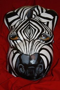 Belly cast with zebra head painting. Wow!