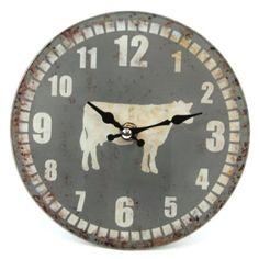 Horloge murale-Horloge en verre Gris Vache (142-531)