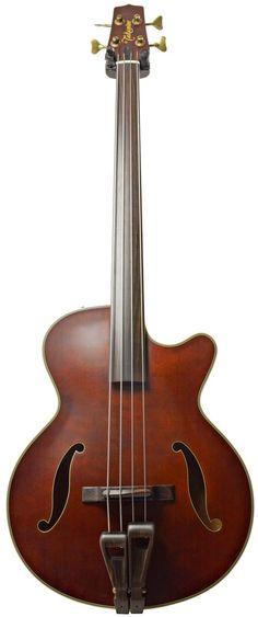 Akamine TB-10 semi-acoustic fretless bass.