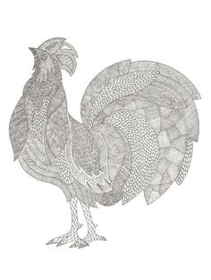 tangled rooster-nice! by Millie Marotta.