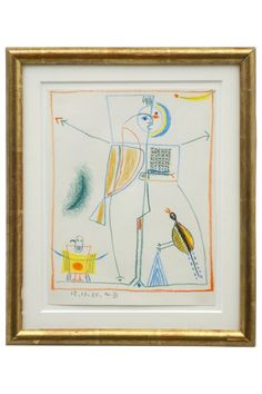 Abstract crayon figural drawing with birds by Michel Debieve (1931- ), dated 1966. France, 1966