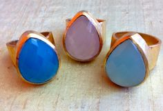 Teardrop Thick Band Ring in Blue Chalcedony, Rose Quartz and Aqua Chalcedony by SHANTTI JEWELS