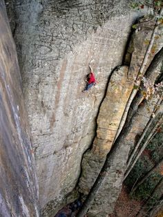 Straight Edge (5.12a) at the Red River Gorge, Kentucky. Photo by Ryan Mclaughlin