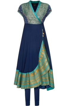 Navy embroidered asymmetric angrakha anarkali set available only at Pernia's Pop Up Shop.