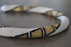 Beaded crochet rope - necklace.