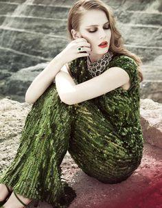 CoCo is Haute - Dark green spangled column gown.