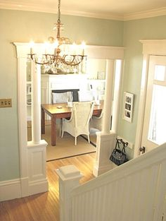 Walls are Palladian Blue by Benjamin Moore and trim is Cloud White.  Similar colors are Tidewater 6477 (walls) and Extra White 7006 (trim) from Sherwin Williams