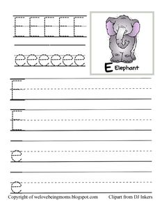 E Is For Elephant Vowel Tracing Sheet And Coloring Page Freebie Kids Learning Preschool