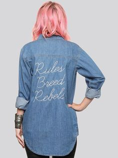 Shirt: embroidered slogan t-s embellished denim denim quote on it pink hair back to school