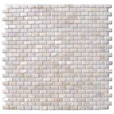 Splashback Tile Mother of Pearl Mini Brick Pattern 12 in. x 12 in. Mosaic Floor and Wall Tile-PITZY BRICK CASTEL DEL MONTE WHITE PEARL at Th...