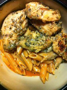 Garlic Pesto Chicken with Tomato Cream Penne | Cook'n is Fun - Food Recipes, Dessert, & Dinner Ideas