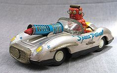 Vintage Tin Friction Toy Space Patrol Car With Robot Driver -- ATC Made in Japan #HOKUATC