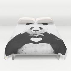 Cover yourself in creativity with our ultra soft microfiber duvet covers. Hand sewn and meticulously crafted, these lightweight duvet covers vividly… Twin Xl Bedding, Comforter, Best Duvet Covers, Panda Love, Panda Bear, Make Your Bed, Queen Duvet, All You Need Is Love, Duvet Insert