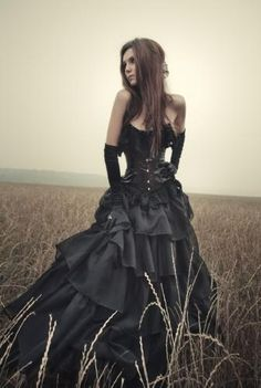 Long black dress.