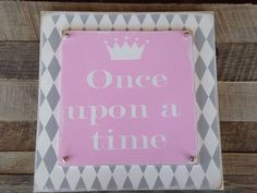 Once upon a time harlequin two layered painted wood sign girls room decor princess decor baby room fairly tale  on Etsy, $30.00