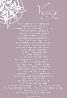 From the author: Vows | A Wedding Poem Reading | Ms Moem