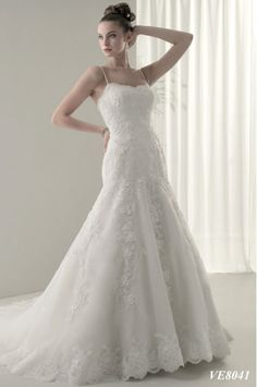 Cheap Bridal Shop Hot Sale Spaghetti Straps Charming Pure Mermaid Strapless Lace&Satin Court Train Bridal Gown