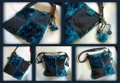 Handmade by Judy Majoros- Turquoise-black faux fur Bag Fur Bag, Faux Fur, Turquoise, Handmade, Bags, Handbags, Hand Made, Green Turquoise, Bag
