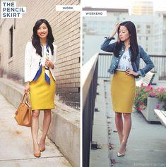yellow pencil skirt, cream blazer/jean jacket, gold heels