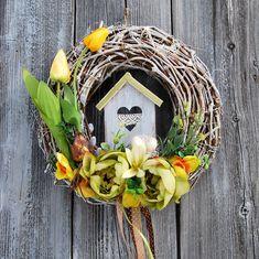 wianek wielkanocny, wianek Wielkanoc, wianek na drzwi, stroik wielkanocny, wianek domek, wianek dzikie wino, dekoracja wielkanocna, dekoracja na ścianę, dekoracja wiosenna, gohart