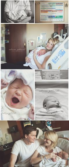 First 48 newborn in hospital. New mom lifestyle photography.