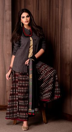 #rabari #vibrant #stole #palazzo #jacket #red #Fabindia