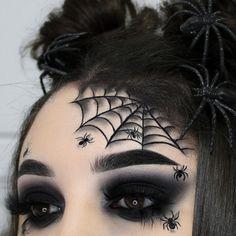 Halloween Eye Makeup, Halloween Eyes, Holiday Makeup, Halloween Spider, Eye Makeup Art, Skin Makeup, Spider Web Makeup, Almond Eye Makeup, Horror Makeup