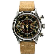 Omega SS Black Two Register Dial Chronograph. 1940's