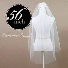 Single Tier 56 Waltz Length Veil made from by CatherineBridal, $78.00