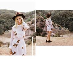 This vintage inspired, baby pink floral Leah Dress by Christy Dawn pairs perfectly with brown Chukka boots by Nisolo and a brown wool fedora by Lack of Color.   Odessa's Song | Part 1 | Whimsy + Row Fall 2016 Lookbook