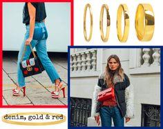 Denim, gold & red. #hvisk #jewellery #jewelry #fashion #silver #gold #graphic #design #grahipcdesign #art #inspiration #chanel #gucci #model