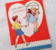 Vintage VALENTINE'S DAY Card Unused Red Heart Jump Rope