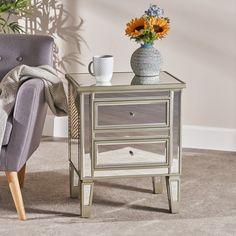 Christopher Knight Home Crawford Vintage Mirror 2-drawer End Table (champagne/mirror), Silver