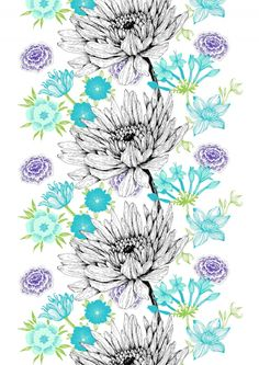 Verano, turquoise by Tanja Orsjoki New York Street, Fabric Patterns, Flower Power, Ss16, Finland, Inspiration, Backgrounds, Fabrics, Wallpapers