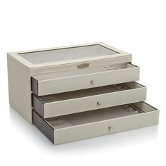 Colleen Lopez Colleen's Prestige™ Stingray-Embossed 3-Drawer Necklace Jewelry Box - Ivory/Off White