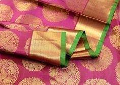 Plum Purple & Green Handloom Pure Kanchipuram Silk Saree | Temple Of Kanchi Online Saree Store, Temple Jewellery, Pure Silk,