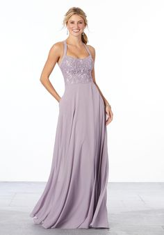Style 21665 from Morilee Madeline Gardner is a feminine chiffon bridesmaid gown with a floral detail embroidered bodice with square neckline, narrow straps, a flowing A-line skirt, and a keyhole back. Wedding Gown Sizes, Bridal Gowns, Blush Bridal, Grey Prom Dress, Lace Dress, Lace Bodice, Mori Lee Bridesmaid Dresses, Wedding Bridesmaids, Prom Dresses