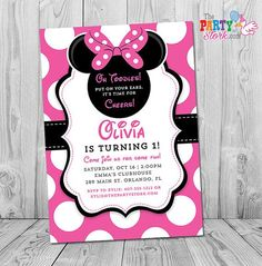 Minnie Mouse 1st Birthday Invitations  Printable by thepartystork