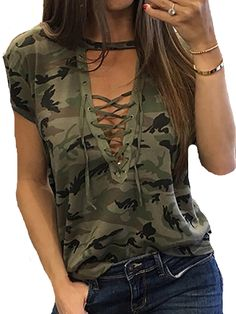 Camouflage T Shirts, Camo Shirts, Casual Tops For Women, Blouses For Women, Country Girls Outfits, Fashion Outfits, Womens Fashion, Fashion Shirts, Fashion Edgy