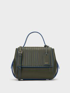 b8260062a3e2 DKNY Small Calf Leather Pleated Flap Crossbody.  dkny  bags  crossbody   leather  lining  shoulder bags  hand bags  cotton
