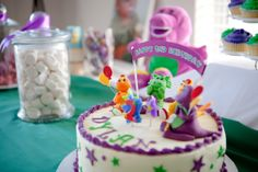 Barney sweet table Barney Birthday Cake, Barney Party, Man Food, 2nd Birthday Parties, Cake Recipes, Sweet, Desserts, Party Ideas, Easy