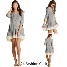 Umgee Womens Summer Solid 3/4 Sleeve Round Neck Tunic Lace Trim Dress Tops S M L #UmgeeUSA #Tunic #Casual