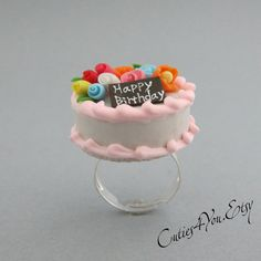 Happy Birthday Cake Miniature Food Ring Miniature by cuties4you