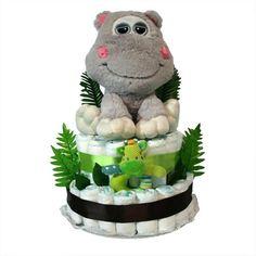 """Tarta pañales """"Safari Hipo"""", divertido regalo y muy práctico para sorprender a los nuevos padres."""