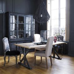 Mango wood dresser in black W 198cm