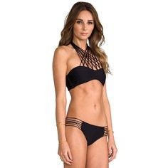 Widow's Web Black Multi Line Tied Neck Bikini Swimsuit #atomicjaneclothing